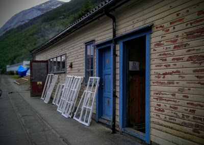 painted windows left to dry, some crashed and broke into strong winds